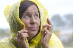 Mature woman rainy weather Stock Photo