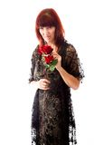 Mature woman rejected flower Stock Image