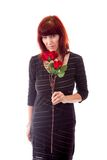 Mature woman rejected flower Royalty Free Stock Photo