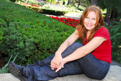 Mature woman relaxing Royalty Free Stock Image