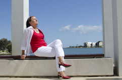 Mature Woman Relaxing on sunny Day Royalty Free Stock Images