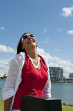Mature Woman Relaxing on sunny Day Royalty Free Stock Photos