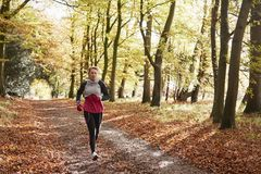 Mature Woman Running Through Autumn Woodland Stock Image