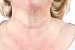 Mature woman's aging skin Royalty Free Stock Image