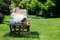 Mature woman seasonal allergies Royalty Free Stock Photos