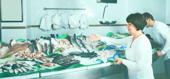 Mature woman selecting cooled fish at fishery Stock Photos