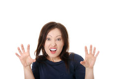 Mature woman shocked Stock Image