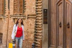 Mature woman shopping. Walking the streets of Italian city Stock Photos
