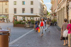 Mature woman shopping. Walking the streets of Italian city Stock Image