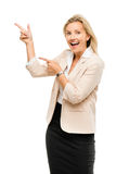 Mature woman showing empty copy space isoated on white backgroun Stock Image