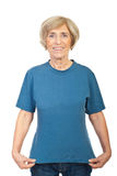 Mature woman showing her t-shirt stock image