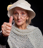 Mature woman showing thumb up Royalty Free Stock Photo