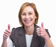 Mature woman showing a thumbs up sign Royalty Free Stock Image
