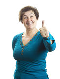 Mature woman shows a sign OK Royalty Free Stock Image