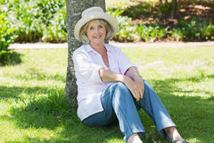 Mature woman sitting against a tree in park Stock Images