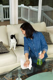 Mature woman smiling at her cat while cleaning the family room t Royalty Free Stock Photos