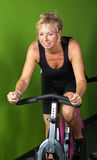 Mature woman spinning. Mature woman on spinning bike in the gym Royalty Free Stock Image