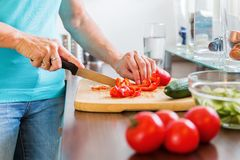 Woman in the kitchen preparing salad Stock Images