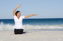Mature woman Stretching Exercise Royalty Free Stock Photos