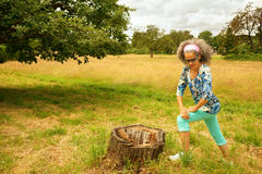 Mature Woman Stretching Legs Outdoor Nature Royalty Free Stock Photography