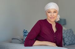 Mature woman suffering from cancer royalty free stock photos