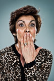 Mature Woman with Surprise Expression Royalty Free Stock Images