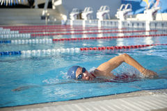 Mature Woman Swimming Stock Image
