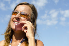 Mature Woman talking on Mobile Phone Stock Photography