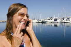 Mature Woman talking on Mobile Phone Stock Photo