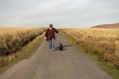 Mature woman and terrier dog walking. On a mountain road royalty free stock image