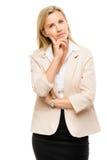 Mature woman thinking isolated on white background Royalty Free Stock Photo