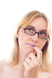 Mature woman thinking about problem solving Royalty Free Stock Photo
