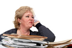 Mature woman throw ball of paper Royalty Free Stock Photography