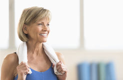 Mature Woman With Towel Around Neck Stock Photos
