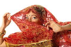 Mature woman in traditional indian costume. Mature woman in traditional rich red indian costume royalty free stock photos