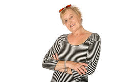 Mature woman in trendy fashion Royalty Free Stock Photo