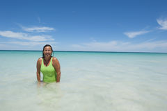 Mature Woman at Tropical Beach Stock Images