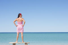 Mature woman at tropical beach vacation Stock Photo