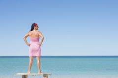 Mature woman at tropical beach vacation Stock Photo
