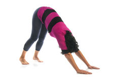 Mature woman in Urdhva Uttanasana yoga pose Stock Photo