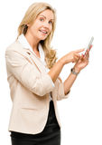 Mature woman using smartphone touchscreen isolated on white back Stock Photography