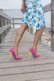 Mature woman in very high heel shoes outdoor Stock Photography