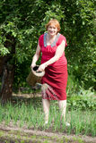 Mature woman watering onion plant Royalty Free Stock Photography