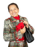 Mature Woman Wearing A Winter Coat Stock Photo