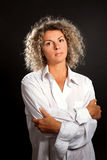 Mature woman wearing man shirt Stock Images