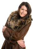 Mature woman wearing sheepskin Royalty Free Stock Images