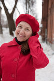 Mature woman wearing a winter coat Stock Images