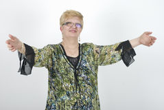 Mature woman welcoming royalty free stock photo