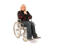 Mature woman in wheel chair Stock Photo