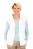 Mature woman white background Stock Photo